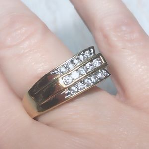 Thailand Vintage Gold Lab Diamond Ring Sz 8